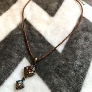Lia Sophia   Brown Leather Necklace with charms